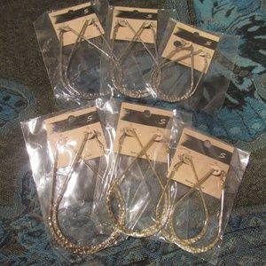 6 Pairs Gold Silver Hammered Metal Hoop Earrings